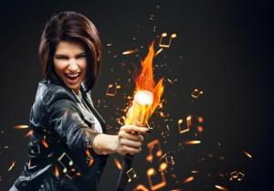 Singer grabbing a fiery mic